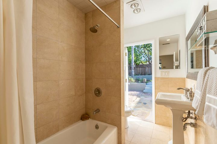 Shower over tub/backyard access