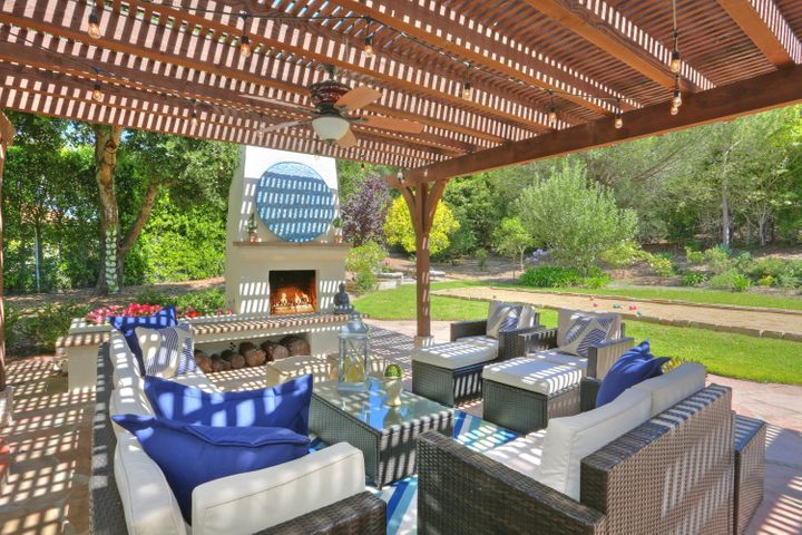 Outdoor Fireplace and Living Room