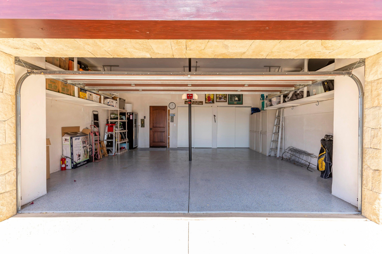 Over sized garage with closet storage