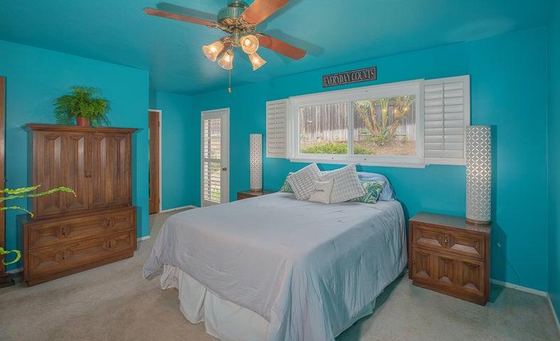 master bedroom with backyard door