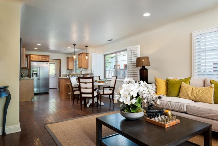 Open living, dining , kitchen