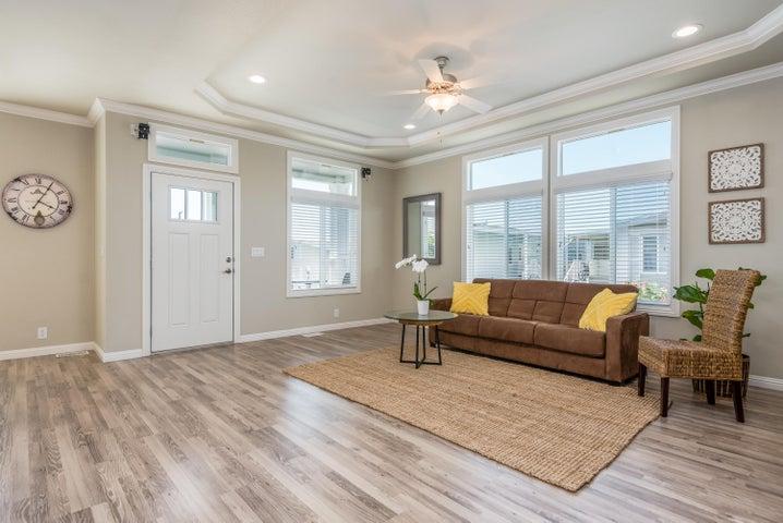 Living Area w coffered & ceiling fan