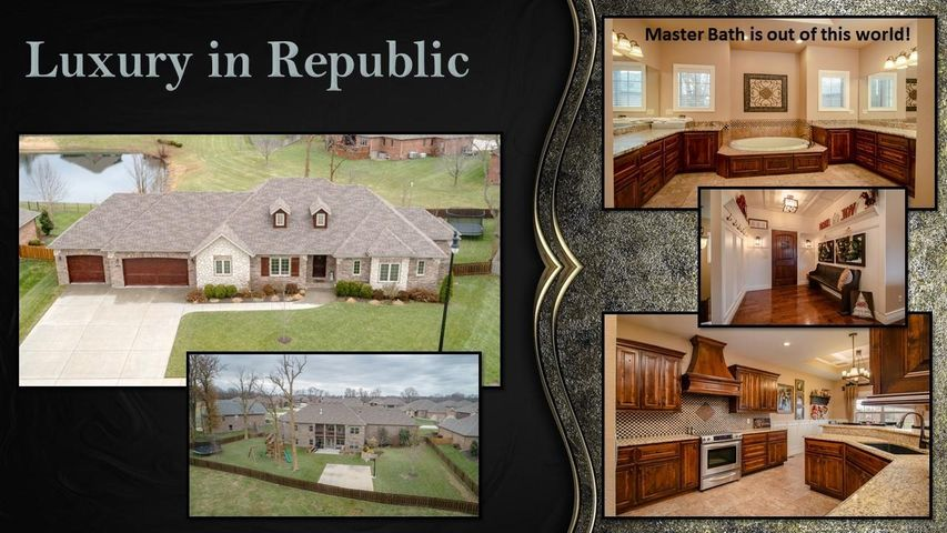 One of the best homes available in Republic! So many wonderful features and all the best quality you can find in a home. This home features over 4200 sq ft with 5 bedrooms, 5 bath, 2 living areas, office, a home gym/theater room, 3 car garage, and more... From the time you pull up to this home you can see the elegance and quality of this home. From the custom alder kitchens cabinets and granite counters to the huge master bathroom that offers his and her closets, twin vanities, garden tub and separate shower unit. Everywhere you look are top quality features like granite counter tops, acrylic tubs, and quality fixtures, custom built-ins, & more. Beautiful exterior offering an all brick exterior with stone and wood features. Come make this Republic home yours and get ready to enjoy!