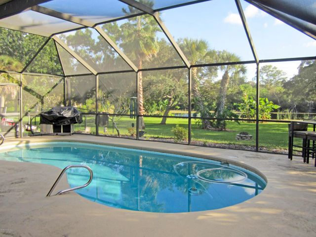Screened pool overlooking spring-fed pong