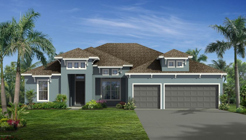 Contemporary elevation; rendering, not actual home