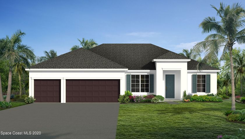 Traditional elevation. Rendering, not actual home.