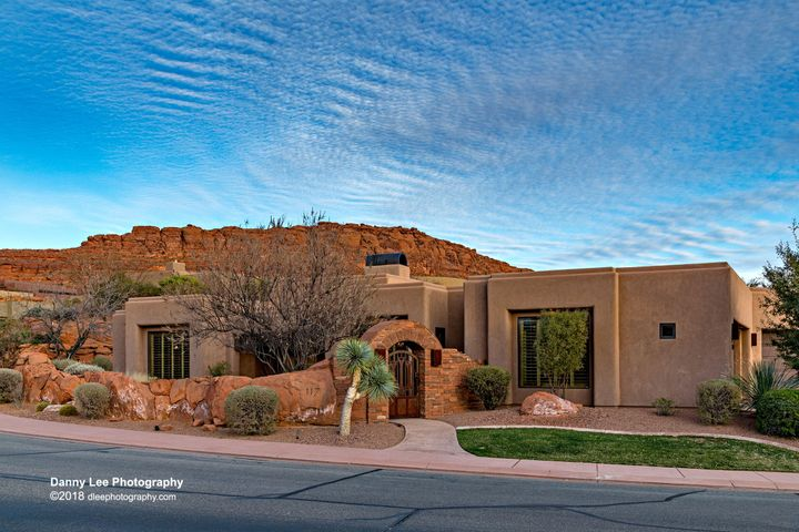This luxury home has great views from front of home towards Snow Canyon.