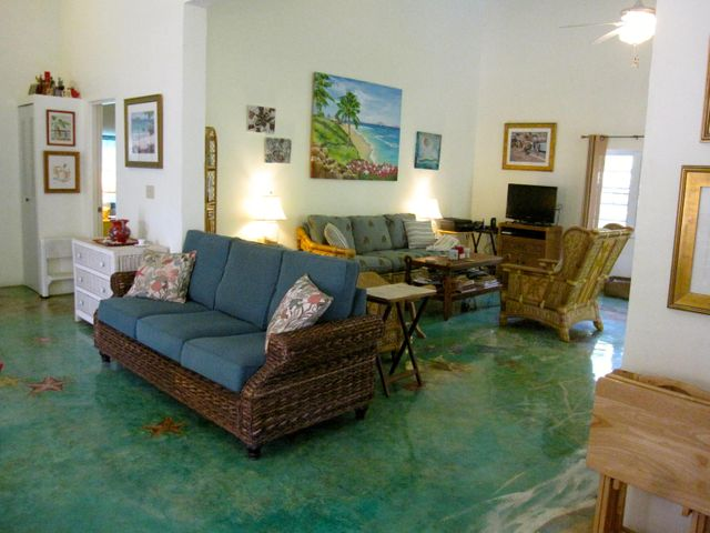 Charming interior with handpainted floor throughout