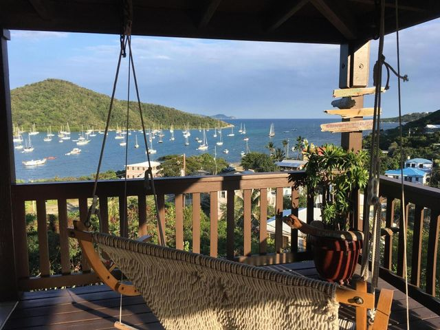 View from veranda over lovely Coral Bay Harbor