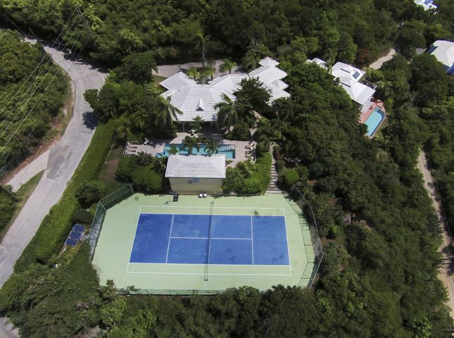 Tennis Villa main house with court, lap pool + Cottage top right with lap pool, spa, private driveway & parking