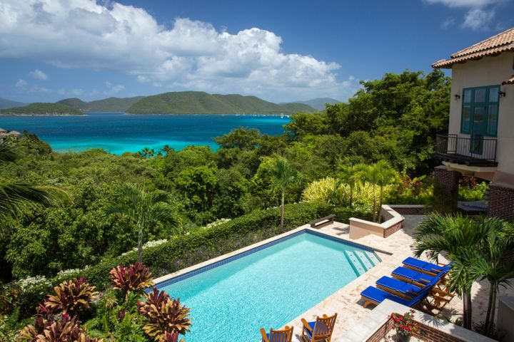 Poolside view to Jost Van Dyke, Whistling Cay, Great Thatch BVI, and Mary's Point to Francis Bay