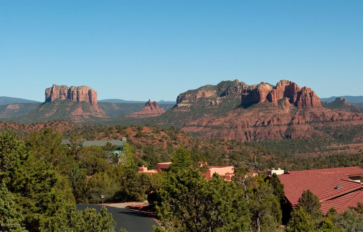 The famous trinity: Courthouse Rock, Bell Rock, and Cathedral Rock.