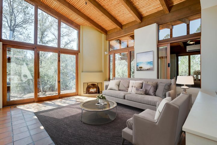 Virtually Staged Living Room with TOWERING Ceilings