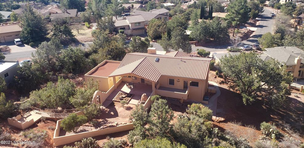 Front Aerial View. Covered Patio, Patio, Deck, Sitting Area