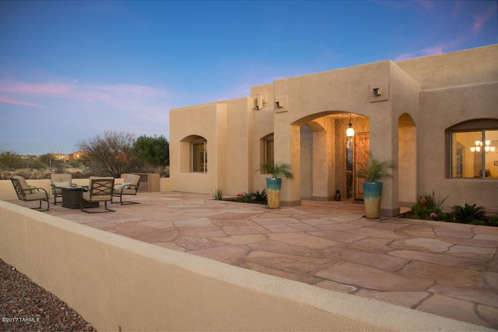 Huge flagstone patio and grand entrance