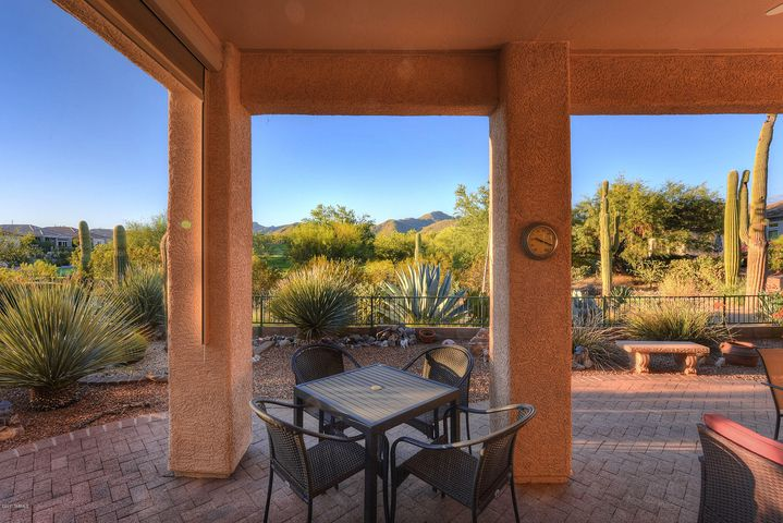 Tranquil under porch backyard mountain, 5th hole & fairway golf course views.