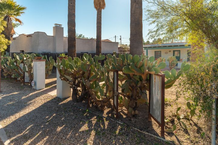 Great curb appeal with prickly pear cactus and corrugated metal panels.
