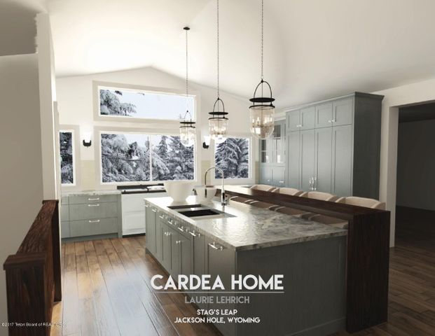 Color Kitchen Rendering-Island View from