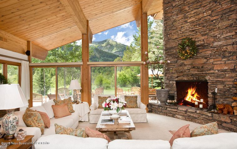 4 Living Room, Fireplace + Mountains