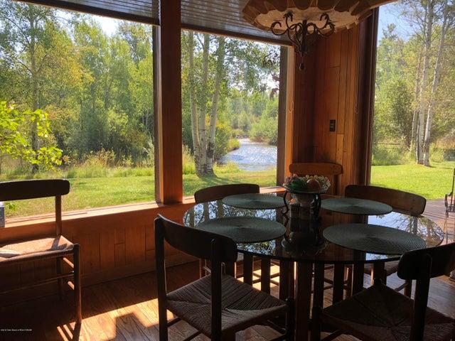 Breakfast nook with creek views
