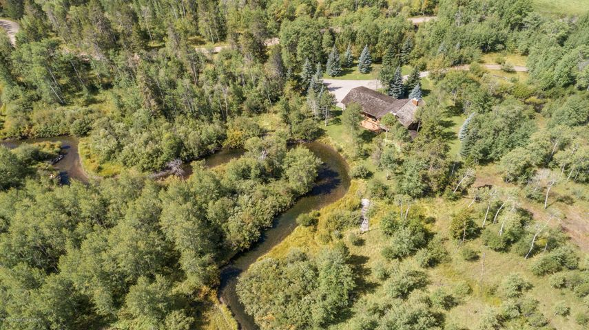 Aerial of house on Lake Creek