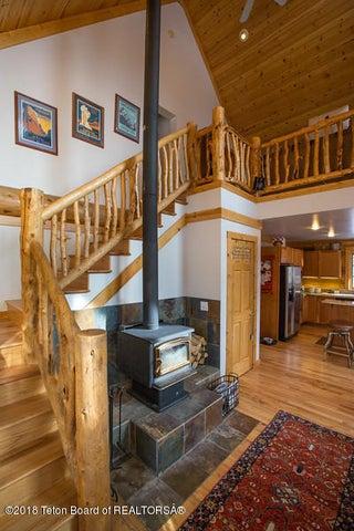 Weeks - wood stove and stairway