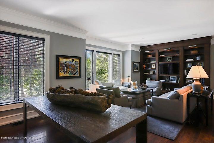 Great Room with Custom Bookshelves
