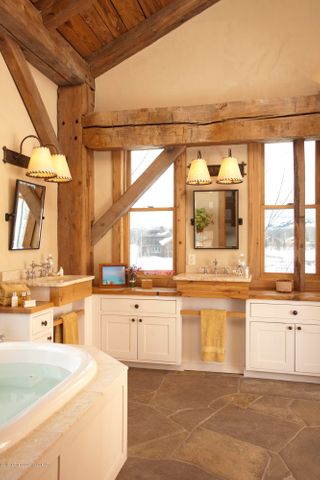 Exposed Barn Frame in Master Bath