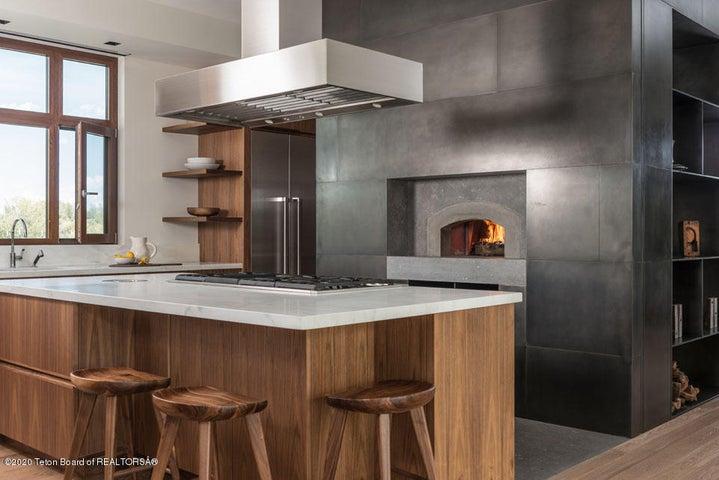 2 Kitchen Island, Hood, Wood-Fired Oven