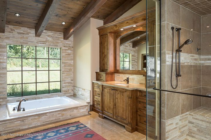 Master Soaking Tub, Vanity + SHower