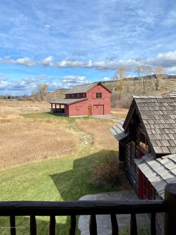 view from bunk room to Red Barn