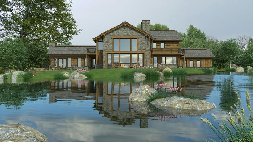 Rendering of rear view with pond