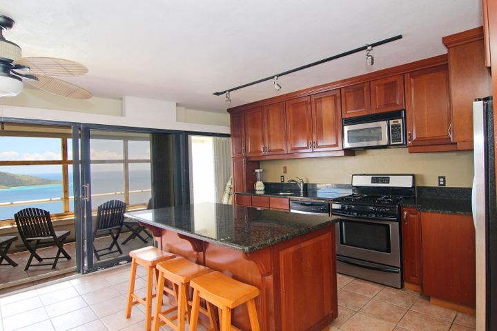 Stainless steel appliances and great views too!