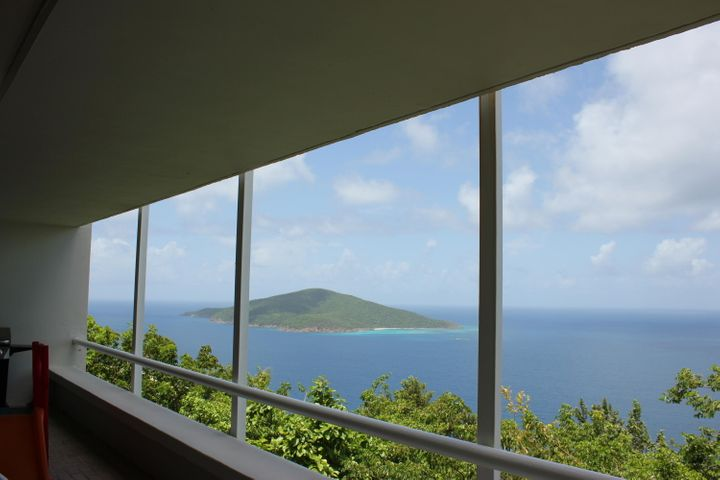 Views from Hans Lollik to Down Island from covered gallery
