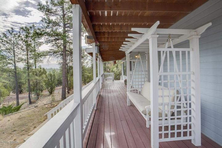 Extra large covered front deck, one of three fully covered decks.