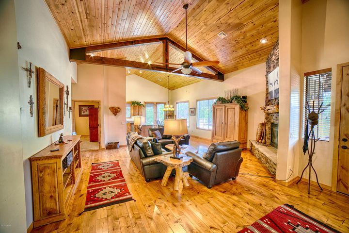 Gorgeous tongue and groove vaulted ceilings with wood beams.