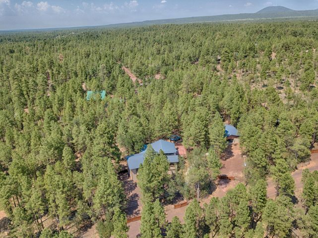 Front aerial of this 1.26 acre private escape