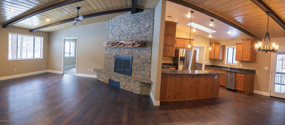 Open concept living/ dining and kitchen.