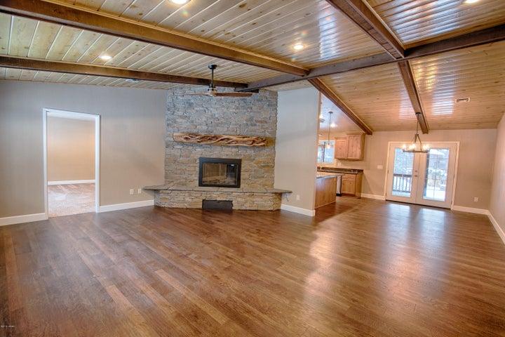 Engineered hardwood/custom fireplace